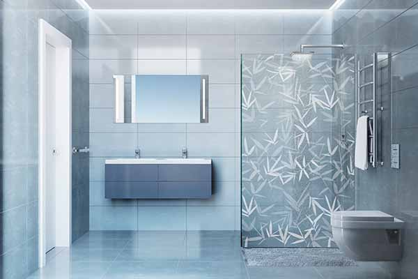 Printed shower screen with bamboo pattern